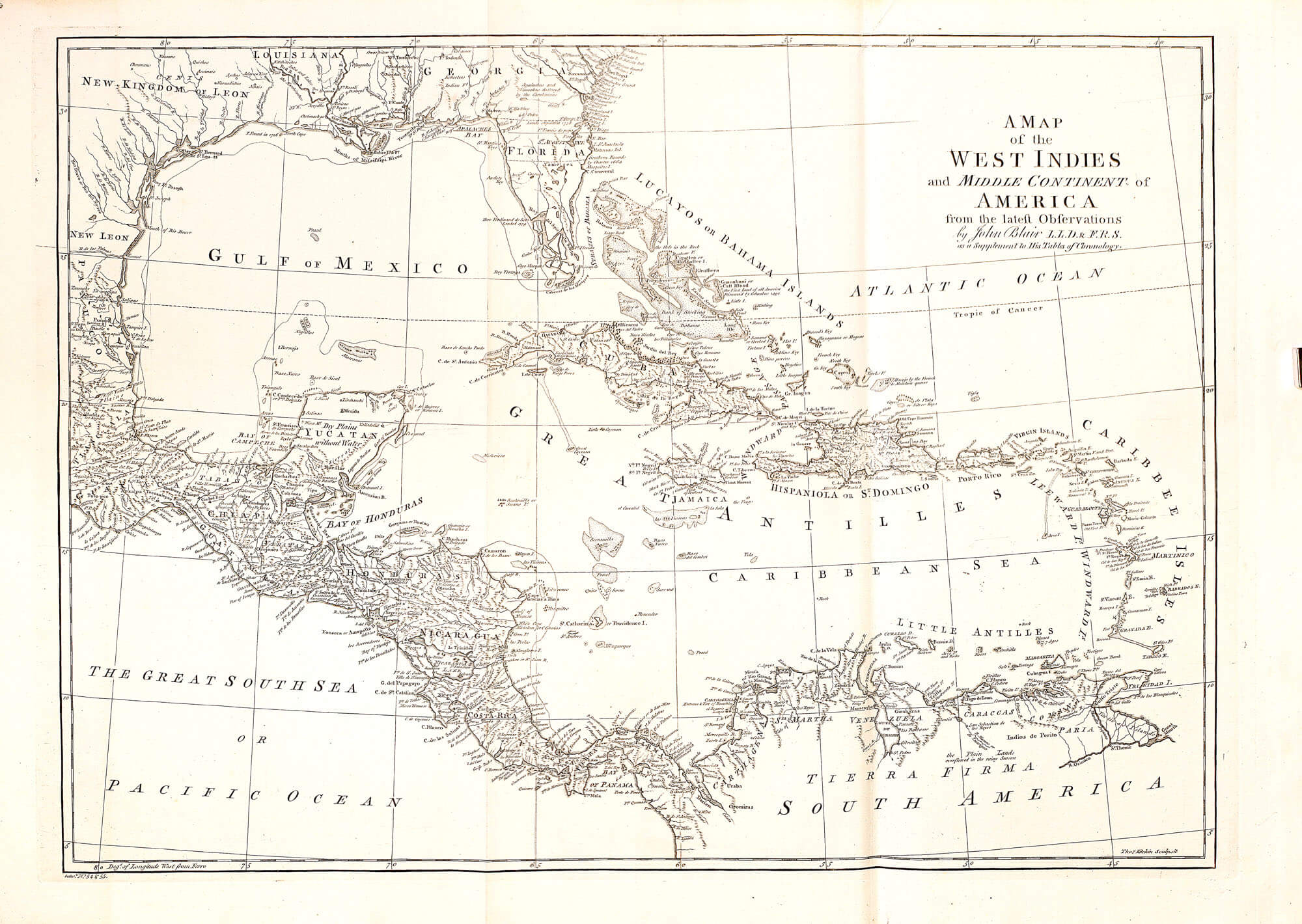 World Atlas John Blair L Brown Collection - West indies central america 1763