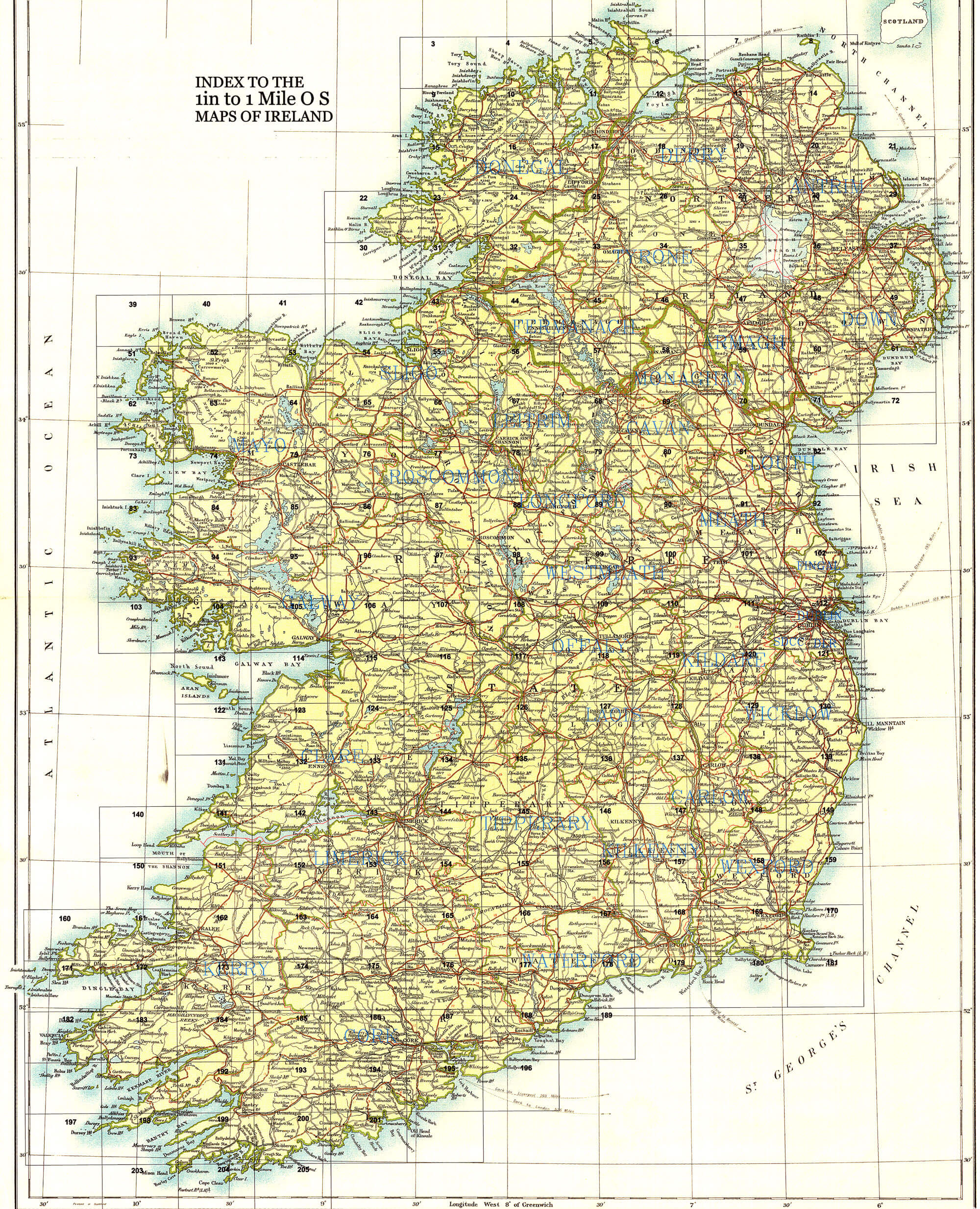 Osi Map Of Ireland.Ireland 1in Topographic Col Abl 1907 Sheets 101 To 150 L Brown