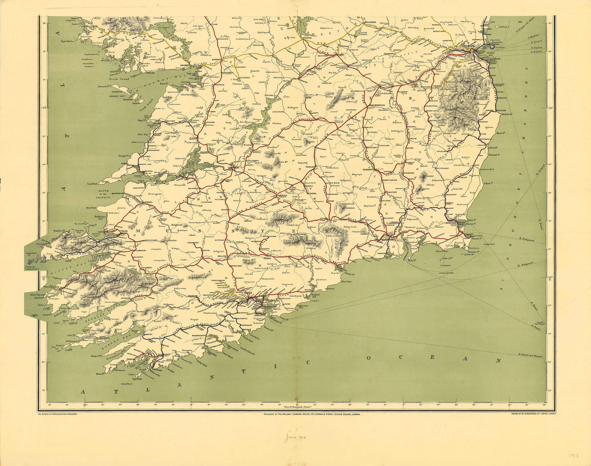 South Of Ireland Map.Ireland Maps Of Railways L Brown Collection