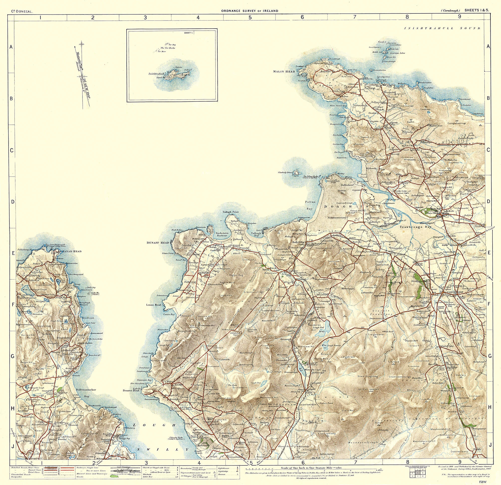 Osi Map Of Ireland.Ireland 1in Topographic Col Abl 1907 Sheets 1 To 50 L Brown Collection