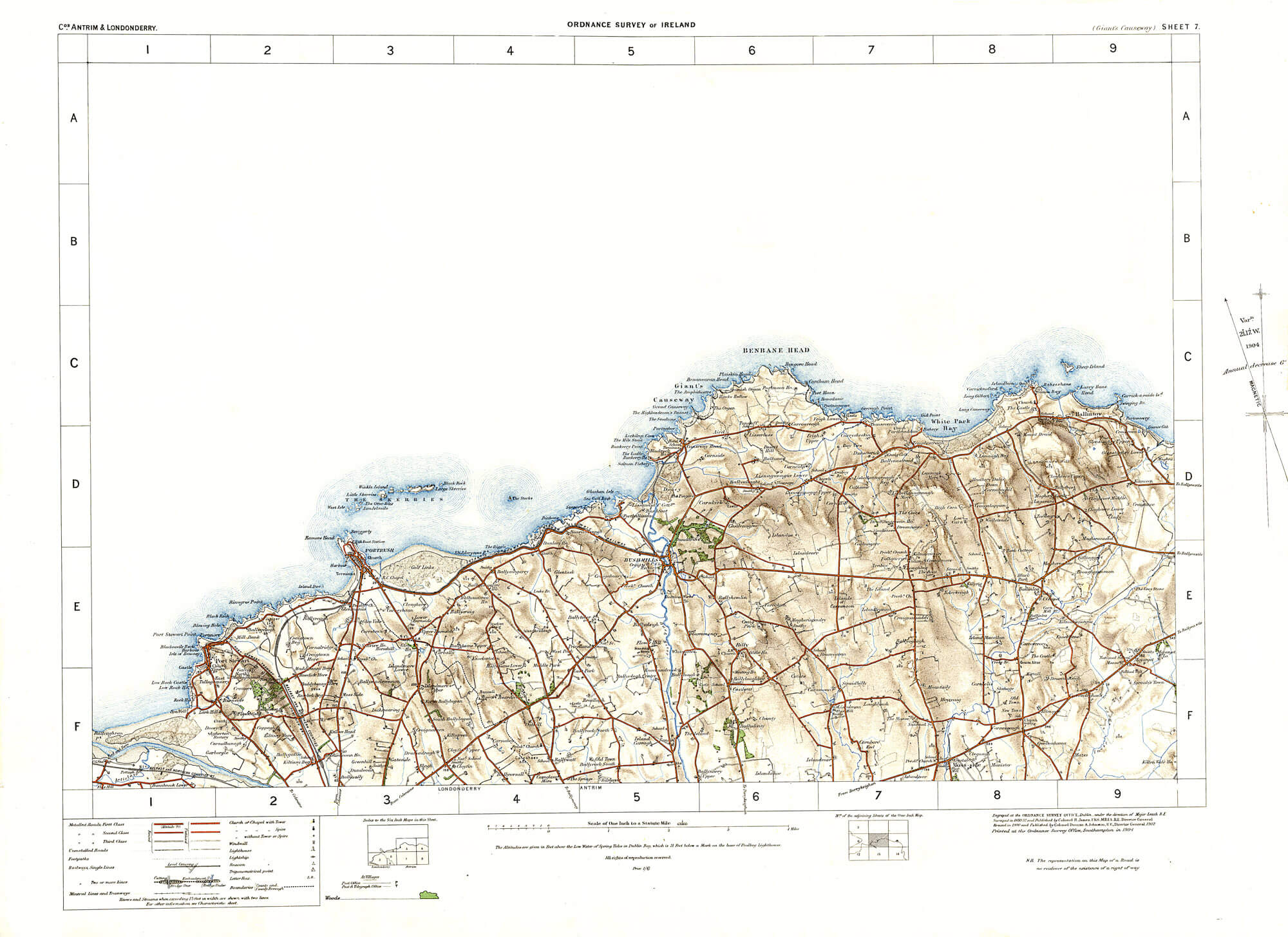 Map Of Ireland Giants Causeway.Ireland 1in Topographic Col Abl 1907 Sheets 1 To 50 L Brown Collection