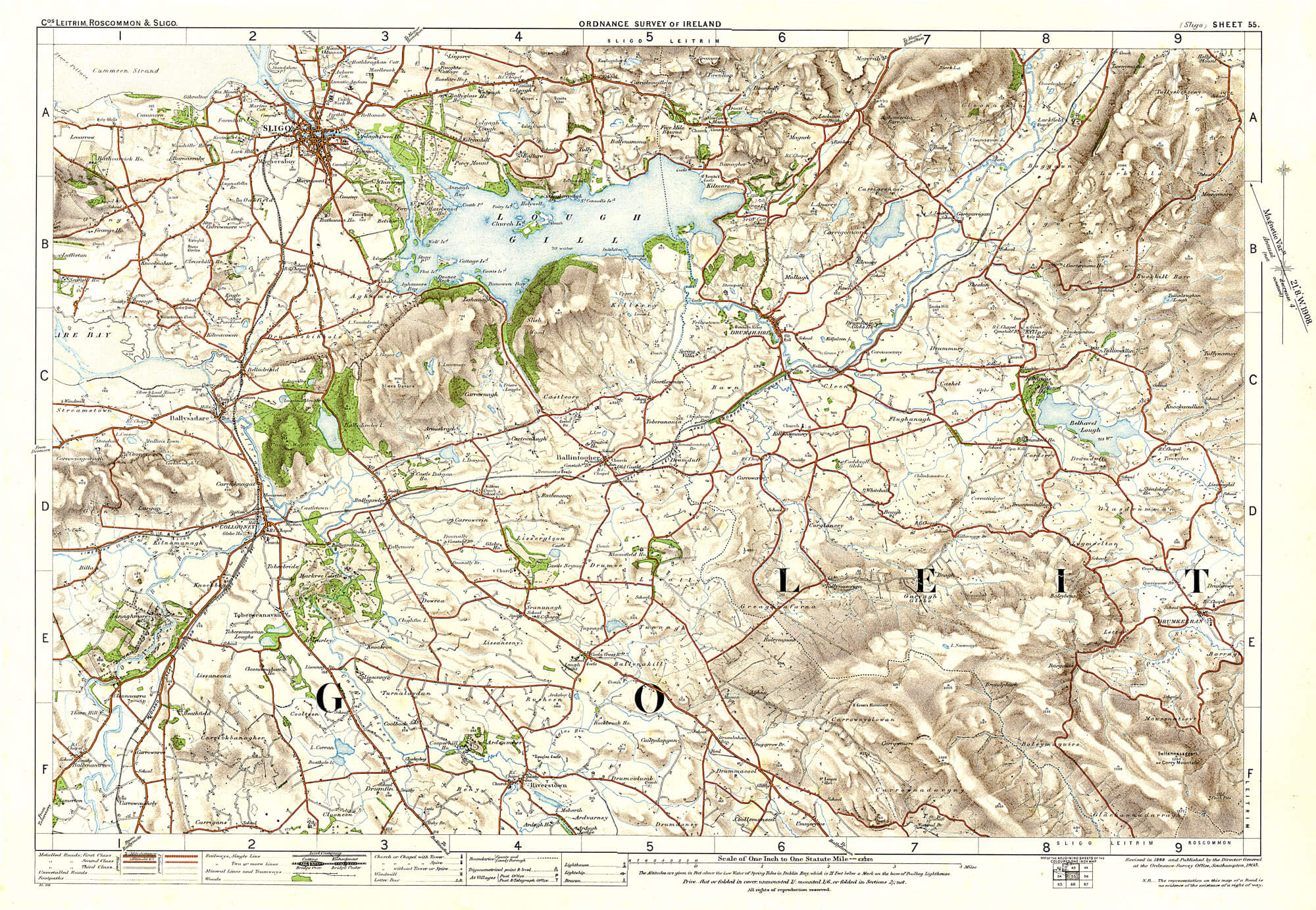 Os Map Of Ireland.Ireland 1in Topographic Col Abl 1907 Sheets 51 To 100 L Brown
