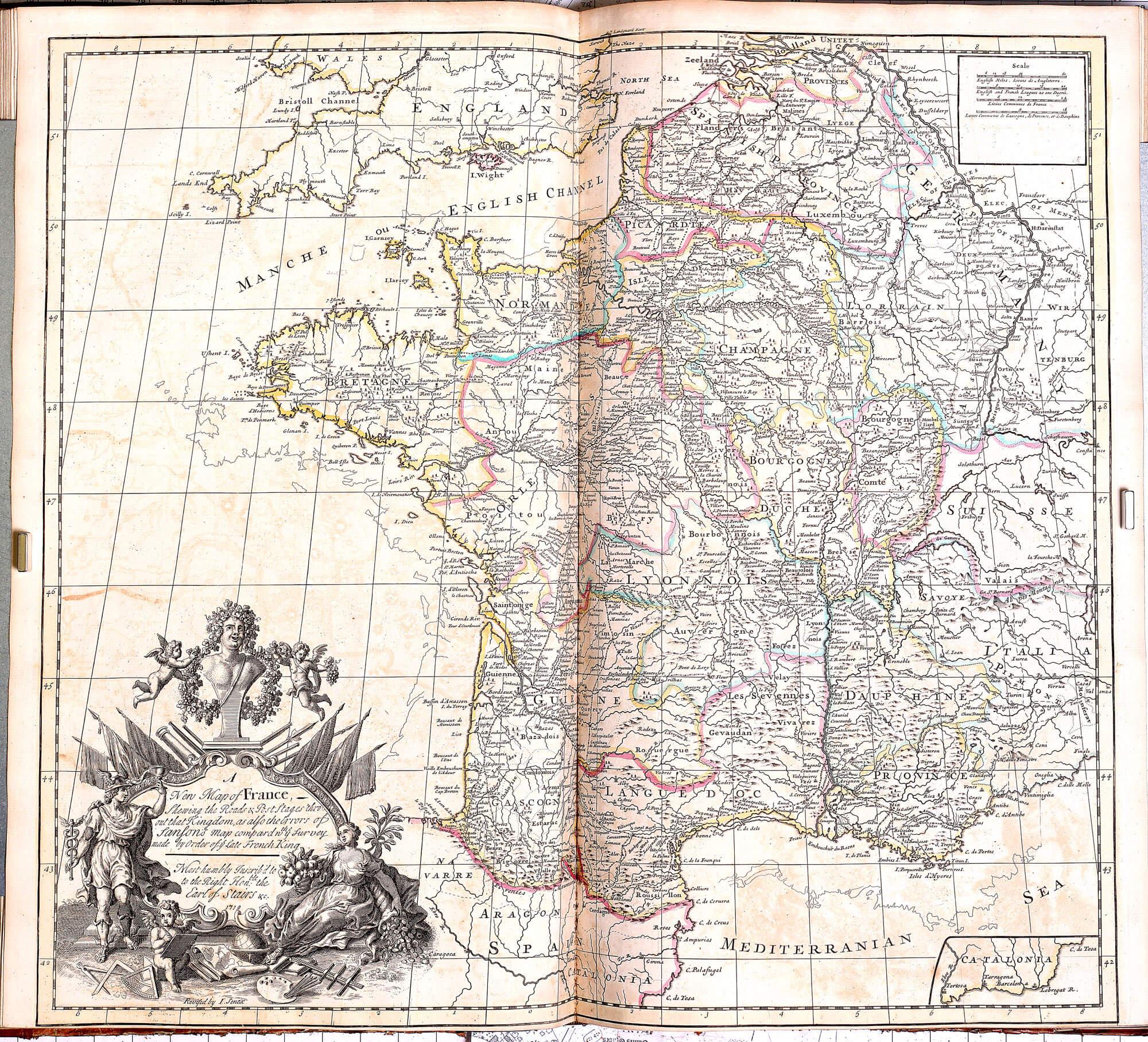 World atlas john senex 1721 l brown collection pp a 15 11 france post routes gumiabroncs Choice Image