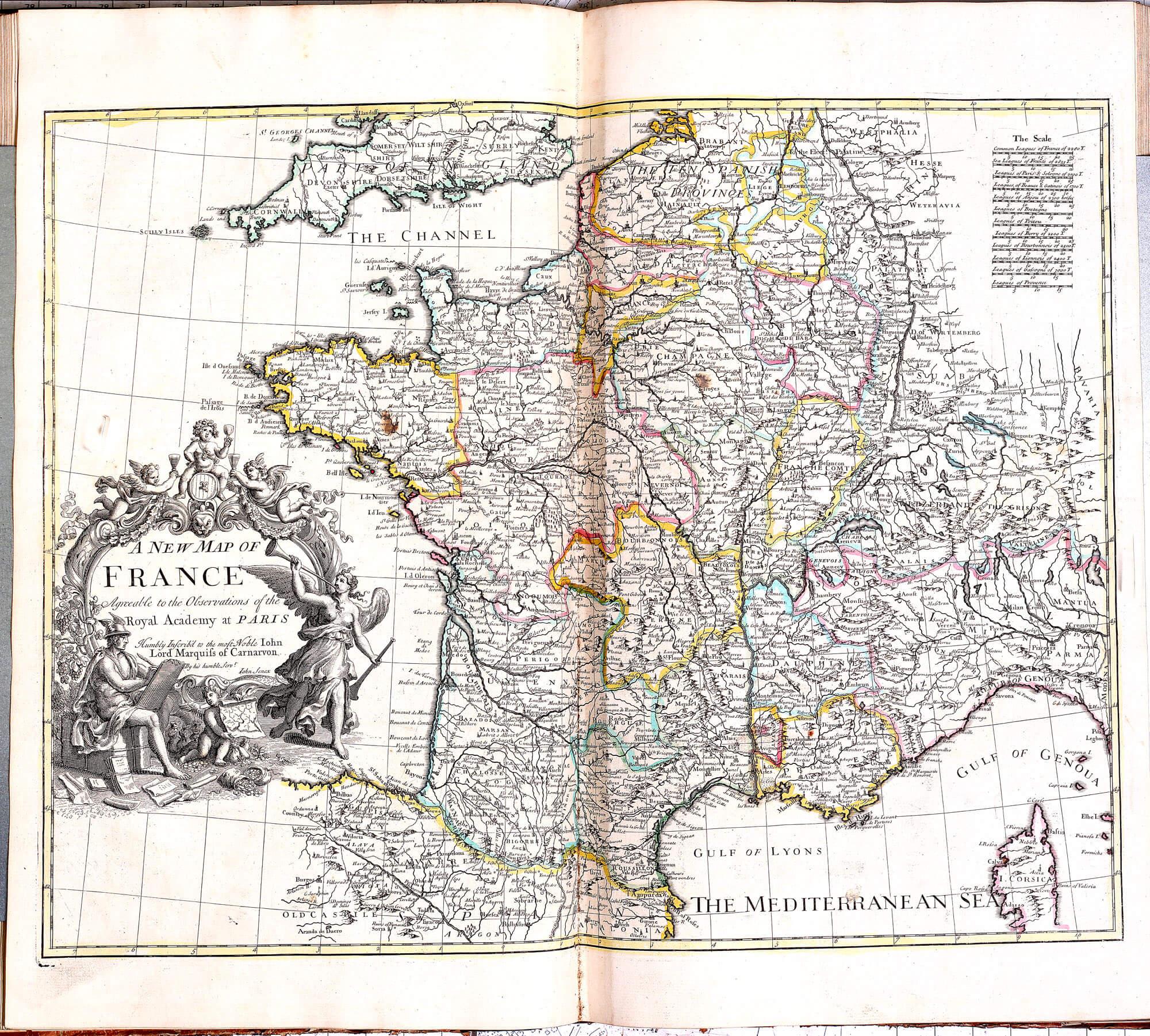 World atlas john senex 1721 l brown collection pp a 15 12 france post routes gumiabroncs Choice Image