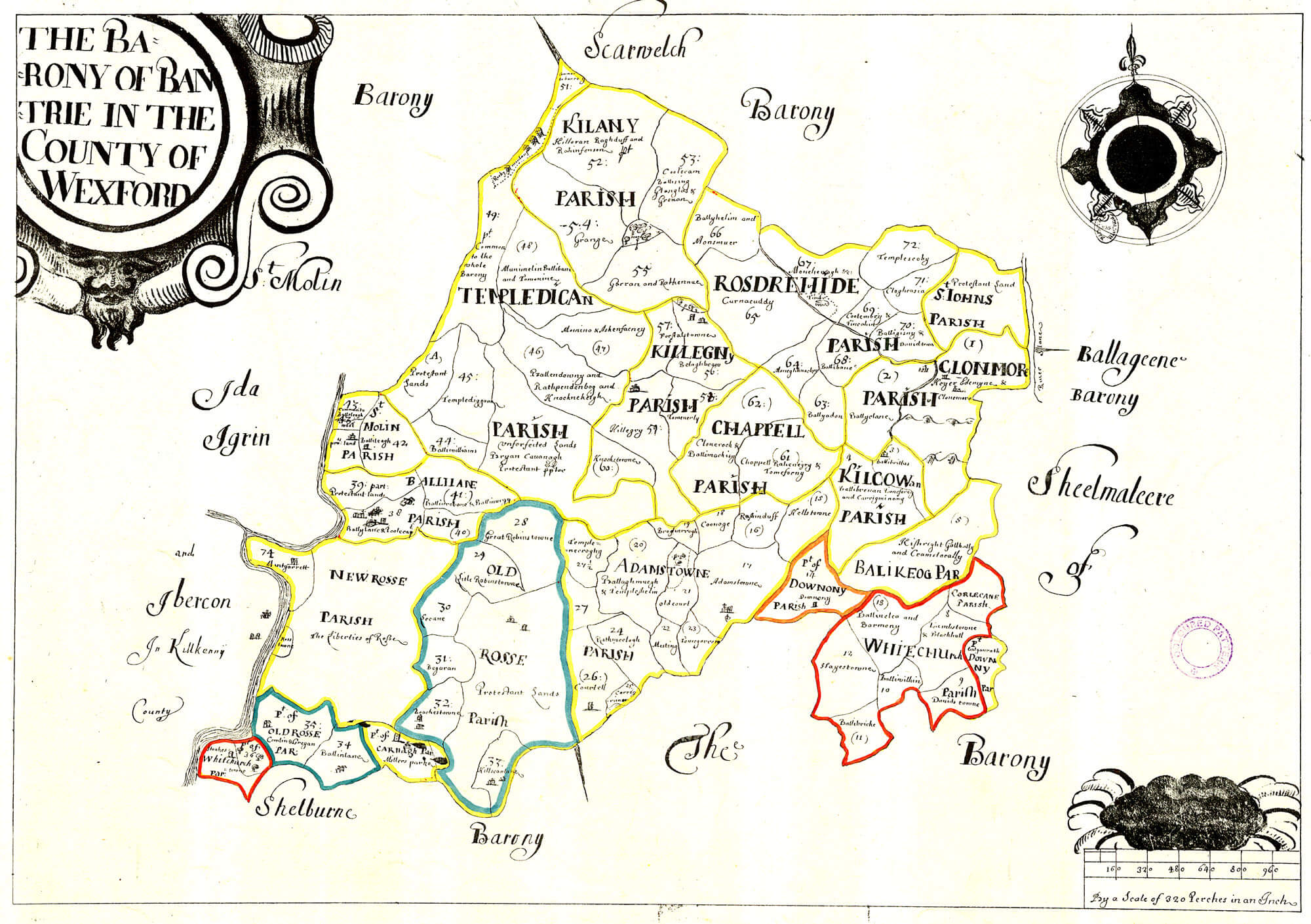 Wexford Map Of Ireland.Ireland Barony Maps County Wexford L Brown Collection