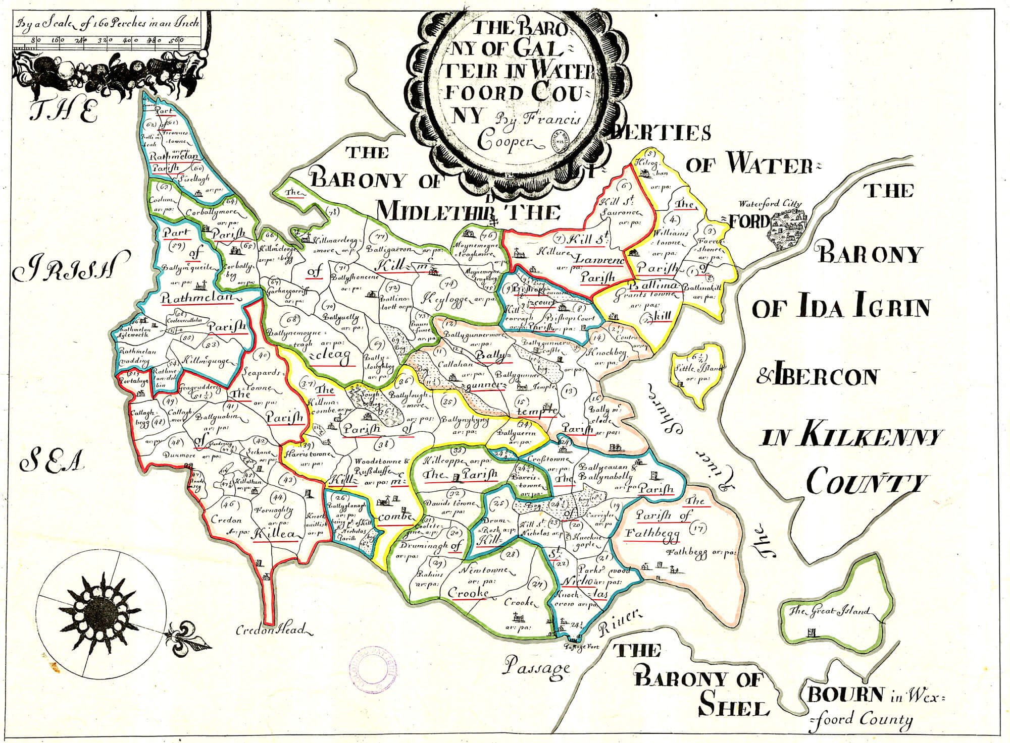 Ireland Barony Maps County Waterford L Brown Collection