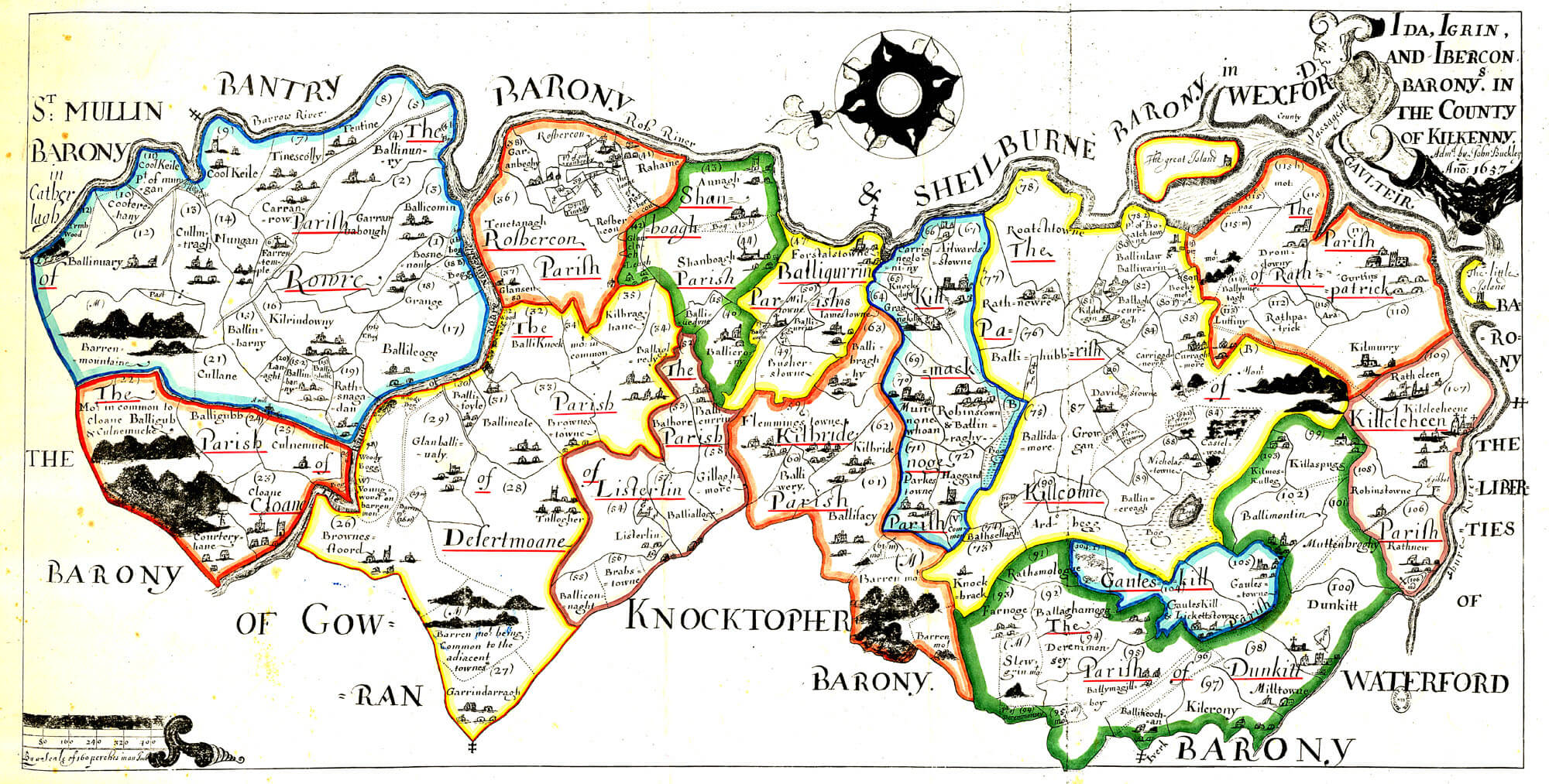 Map Of Ireland Showing Kilkenny.Ireland Barony Maps County Kilkenny L Brown Collection