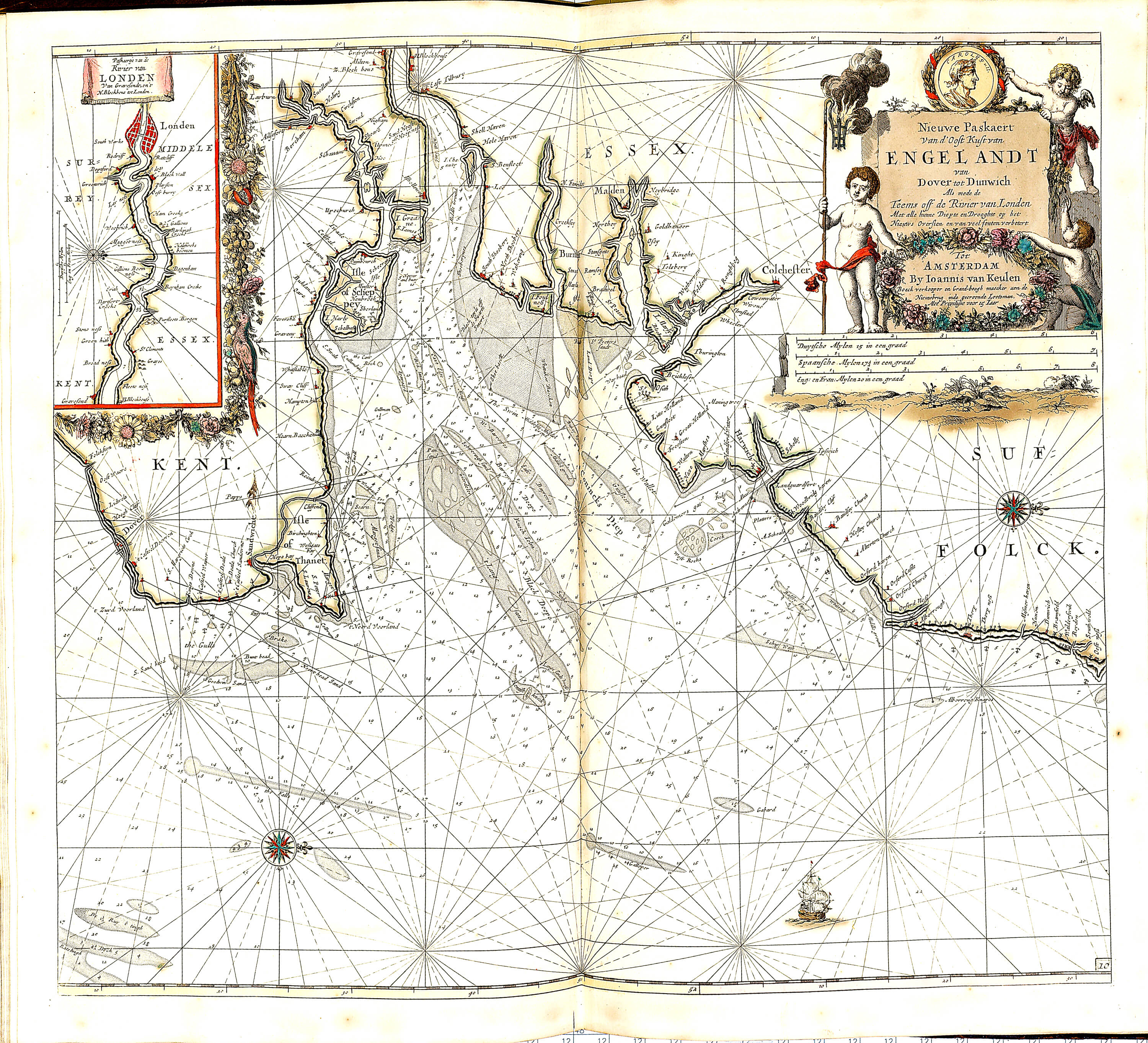 World atlas of charts by johannes van keulan z 1 17 1696 part 2 z 1 17 050 england gumiabroncs Choice Image