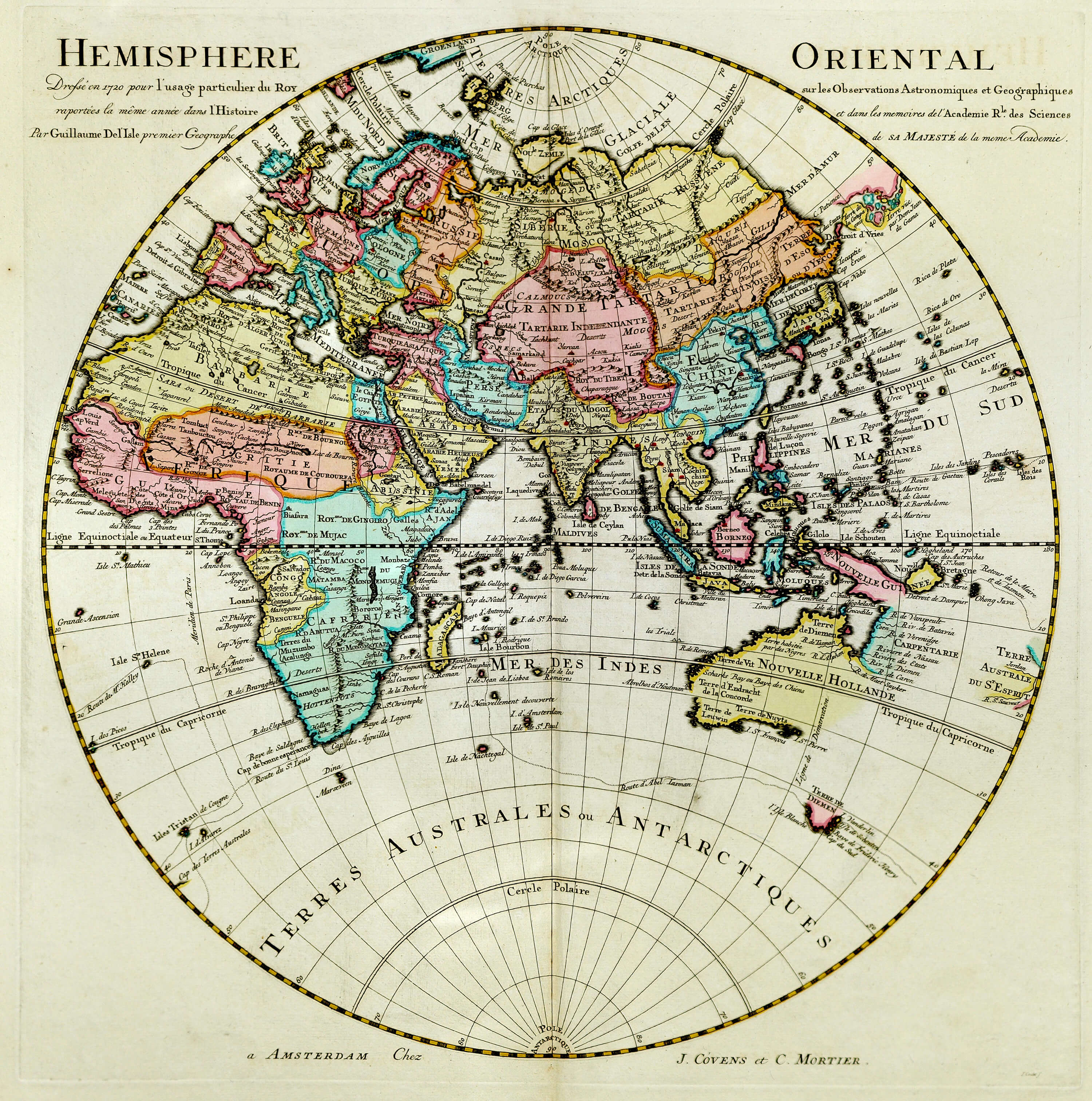 Maps of the whole world 15th to the 19th centuries l brown 1724 world eastern hemisphere guillaume de gumiabroncs Images